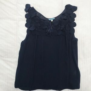 Anthropologie Leifnotes navy pleated blouse